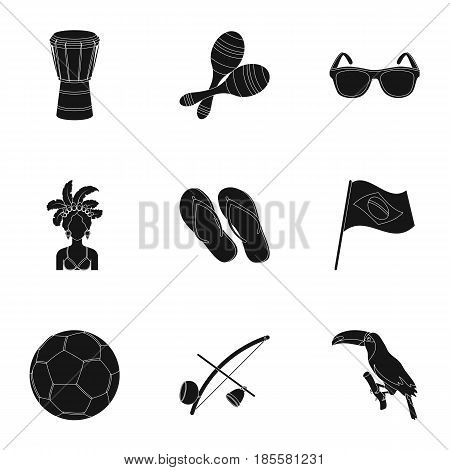 set of icons on the subject of Brazil. Brazilian national attractions. Brazil country in set collection on black style vector symbol stock web illustration.