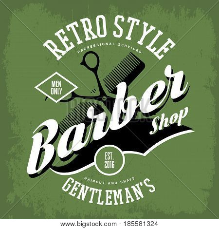 Barber shop or vintage haircut salon sign with scissors and comb. Retro shaving and haircut label or old brand advertising of man barbershop. T-shirt label or sticker, hairdresser insignia or logotype