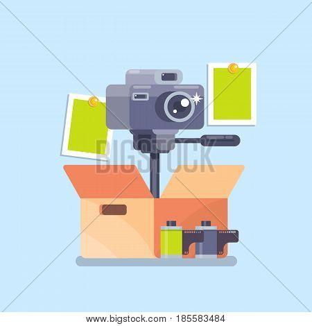Camera equipment flat icon isolated vector illustration