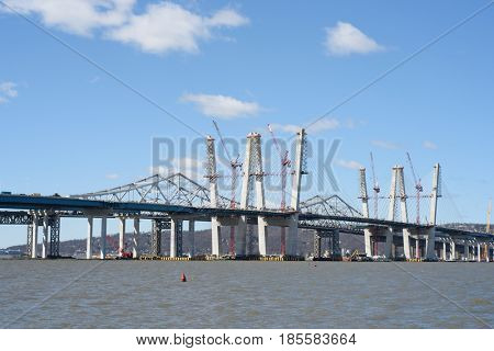 The newly constructed Tappan Zee Bridge on April 8, 2017 in Tarrytown, New York, Westchester County, USA.