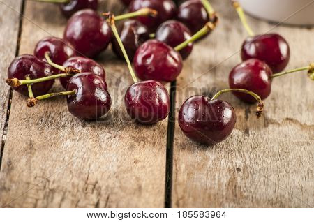 Cherry basket / cherry tree branch/ fresh cherries/ sweet cherries