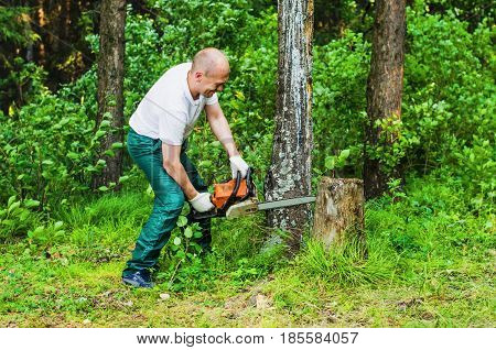 Man  Sawing Wood With A Chainsaw