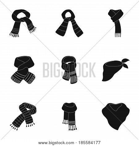 Beautiful woolen, silk-colored warm scarves of shawls. scarves and shawles icon in set collection on black style vector symbol stock web illustration.