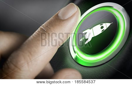 Man finger pressing an boost button with a rocket icon black background and green light. Composite between a photography and a 3D background. Start-up concept.