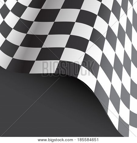 Checkered flag flying on gray gradient design for race sport championship background vector illustration.