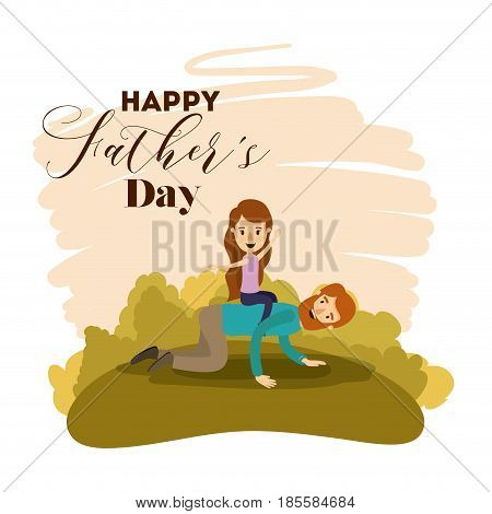 colorful card of landscape with dad playing with daugther on the fathers day vector illustration