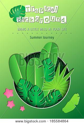 Vector Illustration of pop-up book for Design, Website, Background, Banner.Paper Jungle origami Elements. Tropical craft Template