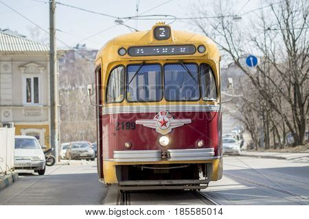Nizhny Novgorod, Russia April 11, 2017: The old model of electric tram. Riga carriage plant. They operated in the 60's of the 20th century. Close-up. Russia.
