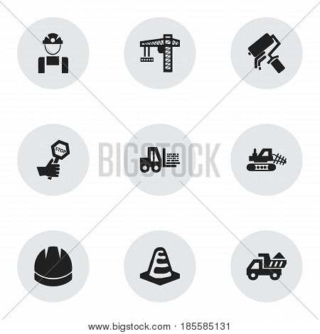Set Of 9 Editable Structure Icons. Includes Symbols Such As Employee, Camion, Endurance And More. Can Be Used For Web, Mobile, UI And Infographic Design.