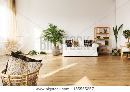 Perfect living room with sofa hammock bookcase plant hardwood floor