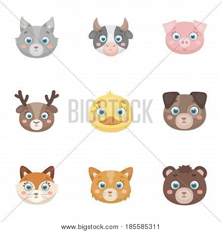 Wild and domestic animals. A set of pictures about animals. Animal muzzle icon in set collection on cartoon style vector symbol stock web illustration.