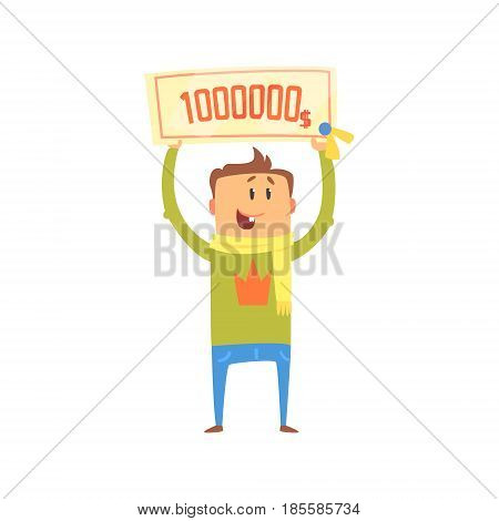 Cartoon happy man with check for one million dollars in his hands. Colorful character vector Illustration isolated on a white background