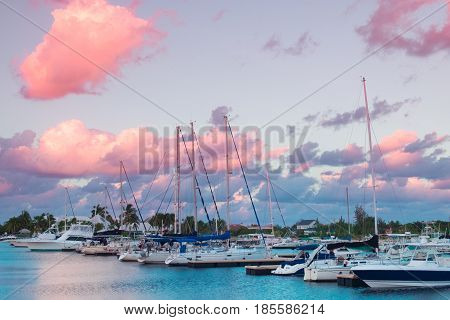 Sunset over a marina on the Caribbean Sea, Grand Cayman