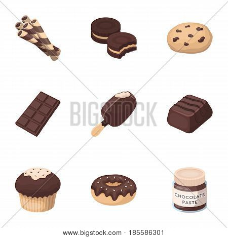 A set of chocolate sweets. Chocolate products for people. Chocolate desserts icon in set collection on cartoon style vector symbol stock web illustration.