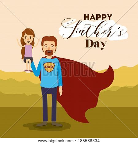 colorful card with dad super hero and daugther on the fathers day vector illustration