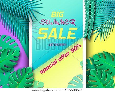 Vector Illustration of Summer Season Sale for Design, Website, Background, Banner. Paper cut Tropicalr Elements. Discount Template