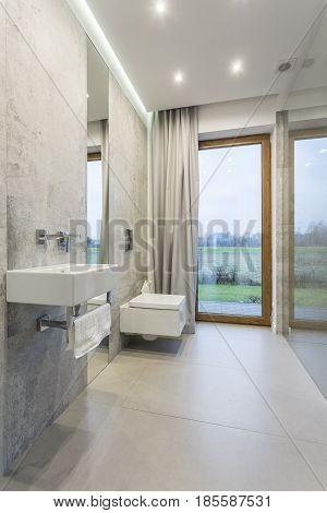 Grey bathroom interior design with washbasin mirror and toilet