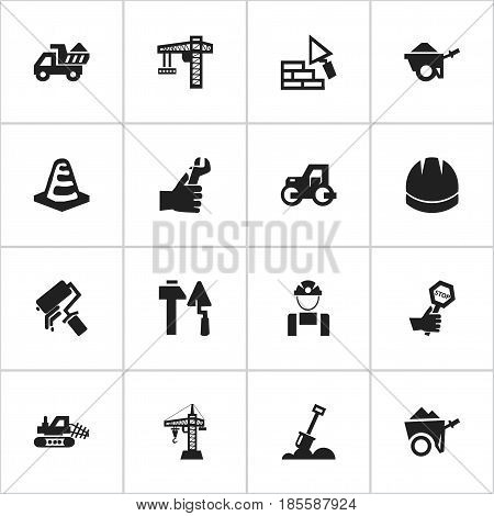 Set Of 16 Editable Building Icons. Includes Symbols Such As Construction Tools, Notice Object, Facing And More. Can Be Used For Web, Mobile, UI And Infographic Design.