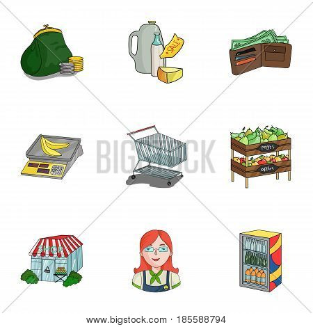 Supermarket, shopping in the store. A selection of pictures on the topic of shopping.Supermarket icon in set collection on cartoon style vector symbol stock web illustration.
