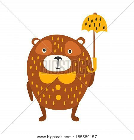 Cute cartoon brown teddy bear standing with yellow umbrella. Funny lovely animal colorful character vector Illustration isolated on a white background