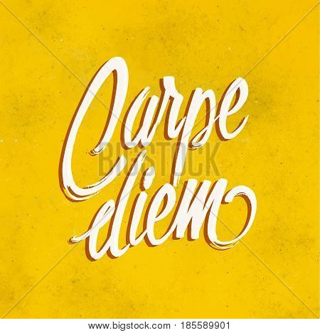 Carpe diem card. Carpe diem text with yellow background. Vector stock.