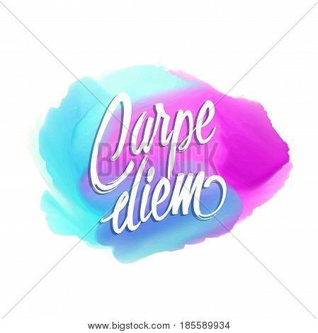 Caper diem card. Watercolors with carpe diem text.