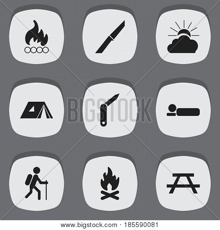 Set Of 9 Editable Camping Icons. Includes Symbols Such As Desk, Blaze, Clasp-Knife And More. Can Be Used For Web, Mobile, UI And Infographic Design.