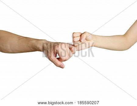 Hands Holding Each Other By The Little Fingers. Friendship. Isolated On A White Background