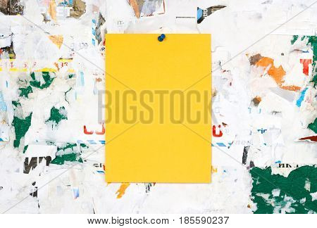 Empty Colorful Paper Ad Inserts On A Dirty Board. Fastens With Metal Buttons. Blank Ad With Cut Slip