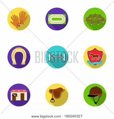 Races on horseback, hippodrome. Horse racing and equipping riders.Hippodrome and horse icon in set collection on flat style vector symbol stock web illustration.