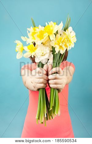 Beautiful Woman With Spring Flowers On Blue Background