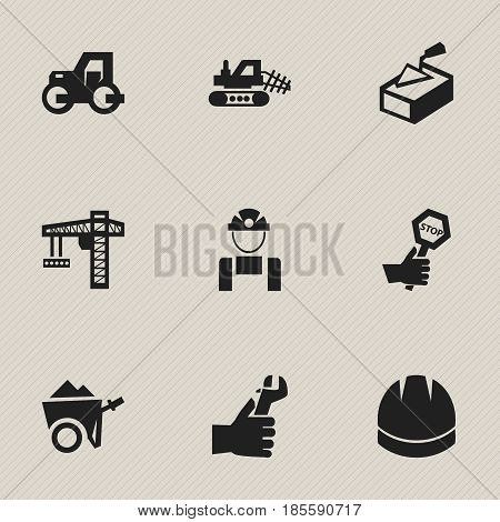 Set Of 9 Editable Construction Icons. Includes Symbols Such As Spatula , Handcart , Employee. Can Be Used For Web, Mobile, UI And Infographic Design.