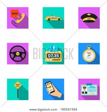 Set of icons about the taxi. A call taxi driver, Parking. Transportation around the city.Taxi icon in set collection on flat style vector symbol stock web illustration.
