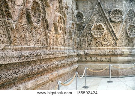 BERLIN GERMANY - APRIL 7: Facade from palace of Quasr Mshatta in Pergamon museum of Islamic art on April 7 2017 in Berlin