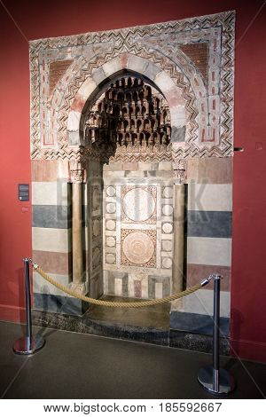 beRLIN GERMANY - APRIL 7: Prayer niche at museum of Islamic art in Pergamon museum on April 7 2017 in Berlin