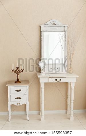 A old retro white dressing table glass mirror. toned