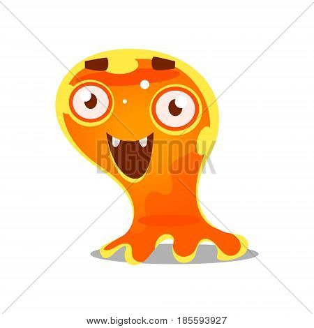 Funny cartoon friendly slimy monster. Cute bright jelly character vector Illustration isolated on a white background