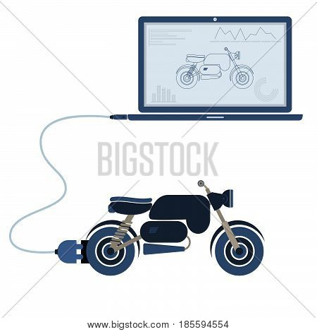 Motorcycle connected to a laptop through a usb cable. Outline of the motorcycle and graphs being shown on the computer monitor. Flat design. Isolated.