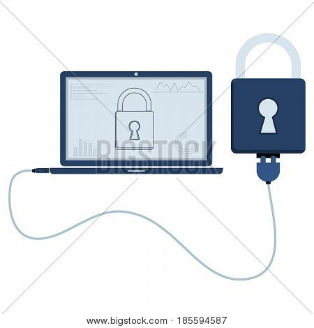 Padlock connected to a laptop through a usb cable. Outline of the padlock and graphs being shown on the computer monitor. Flat design. Isolated.