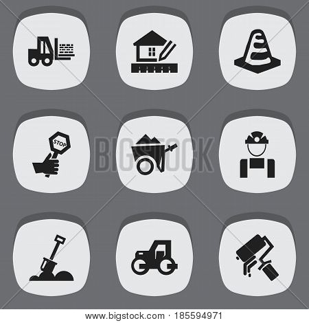 Set Of 9 Editable Building Icons. Includes Symbols Such As Home Scheduling, Notice Object, Endurance And More. Can Be Used For Web, Mobile, UI And Infographic Design.