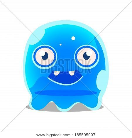 Funny cartoon friendly blue slimy monster. Cute bright jelly character vector Illustration isolated on a white background