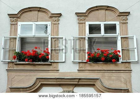 Typical view of a house windows in the center of the Salzburg