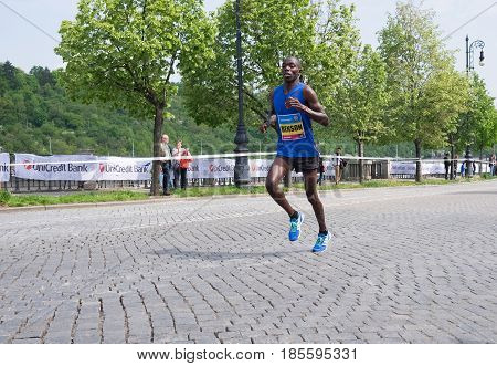 Prague, Czech Republic - May 7, 2017: Volkswagen Prague Marathon 2017 4th place winner KIPRUTO BENSON finishes 42,195km distance in Prague, Czech Republic