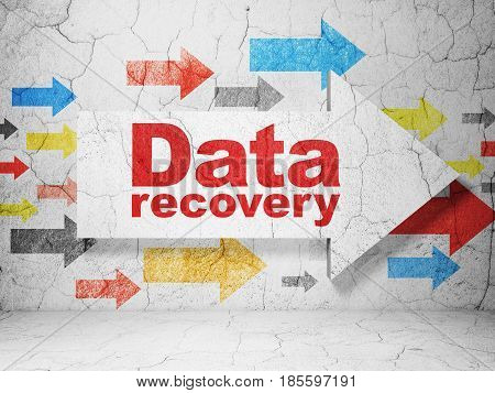 Information concept:  arrow with Data Recovery on grunge textured concrete wall background, 3D rendering