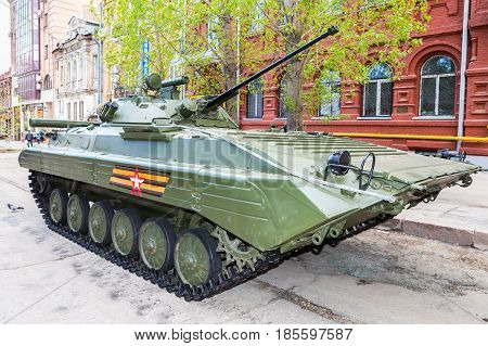 Samara Russia - May 6 2017: Russian infantry fighting vehicle BMP-2 during the military parade at the city street in Samara Russia