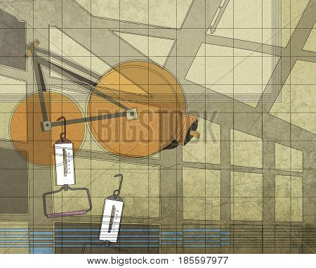 Illustration of a textural background on an audit topic: measuring instruments  and changeless