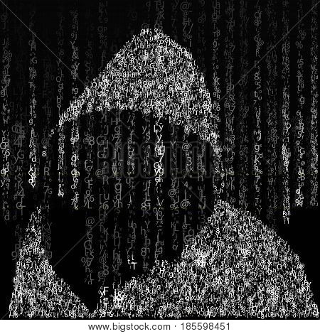 Background in matrix style. Drop random characters in black and white. On the background of a hacker in the hood of characters. Vector illustration