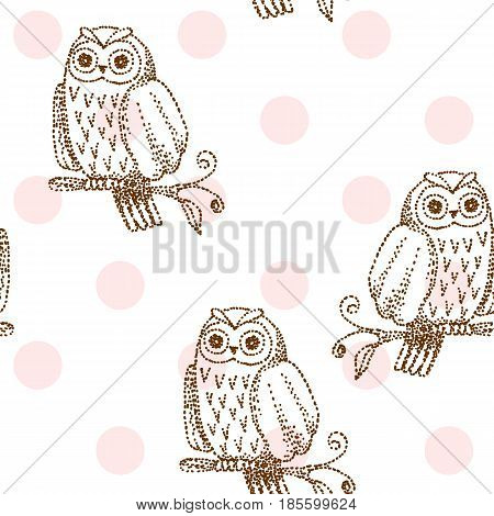 Vector drawn seamless geometric pattern with owl