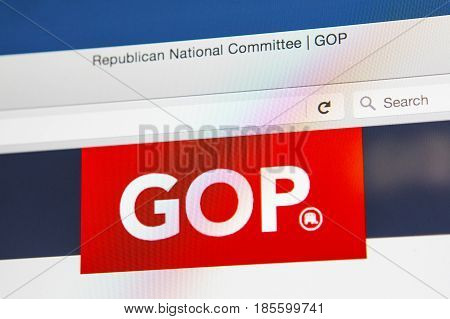 LONDON UK - APRIL 15TH 2017: The homepage of the official website for the Republican Party also known as the GOP (Grand Old Party) on 15th April 2017.
