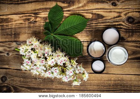 Flowers Of Chesnut With Jar Of Cream
